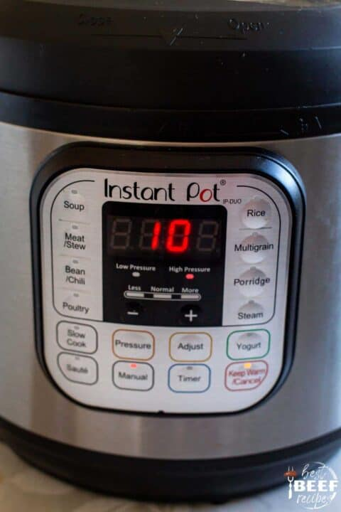 Close up of the time set on the instant pot