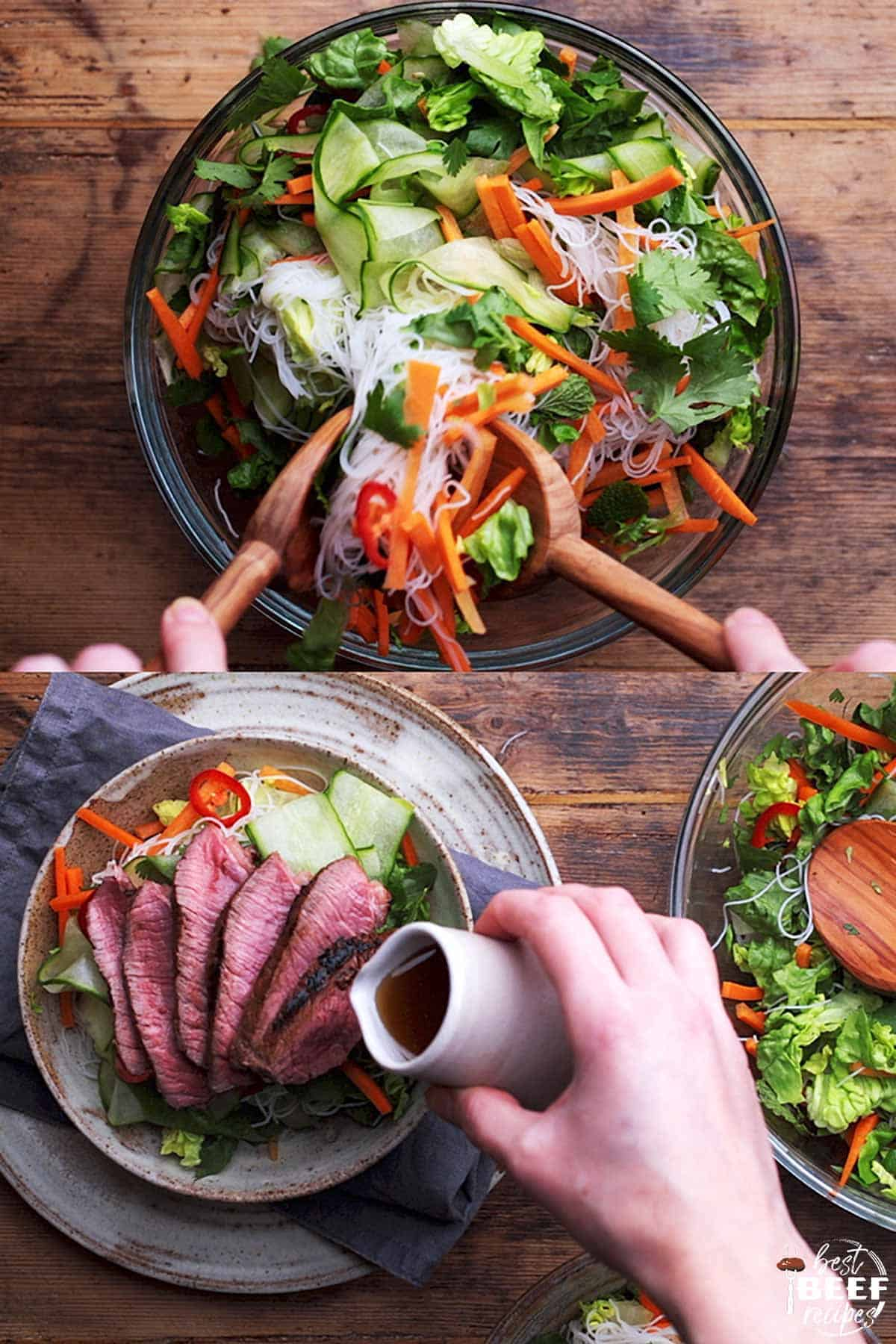 Mixing the Vietnamese beef salad and adding the steak and dressing