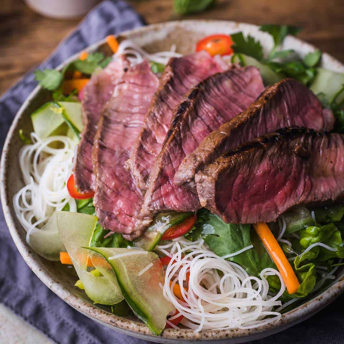 Close up of Vietnamese beef salad in a bowl