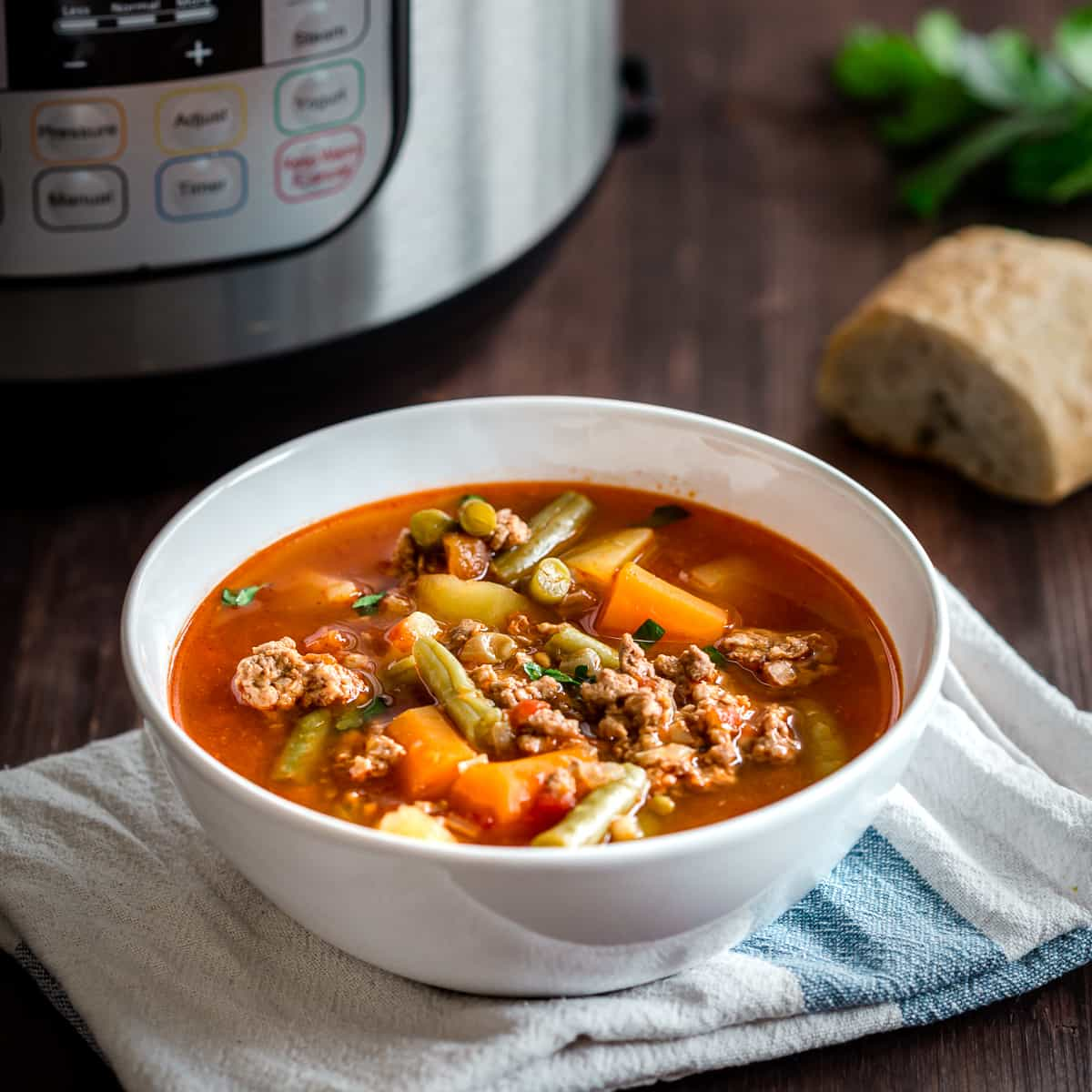 Instant Pot Hamburger Soup served in a white bowl