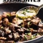 Garlic butter steak bites pin image