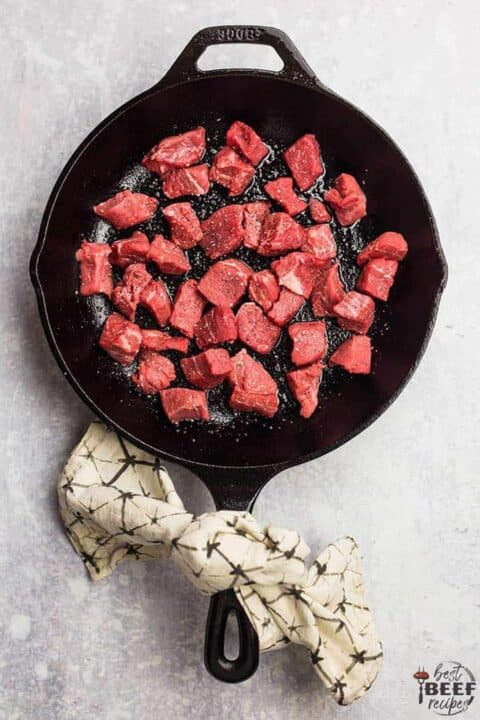 Cooking steak bites in a skillet - they are still red
