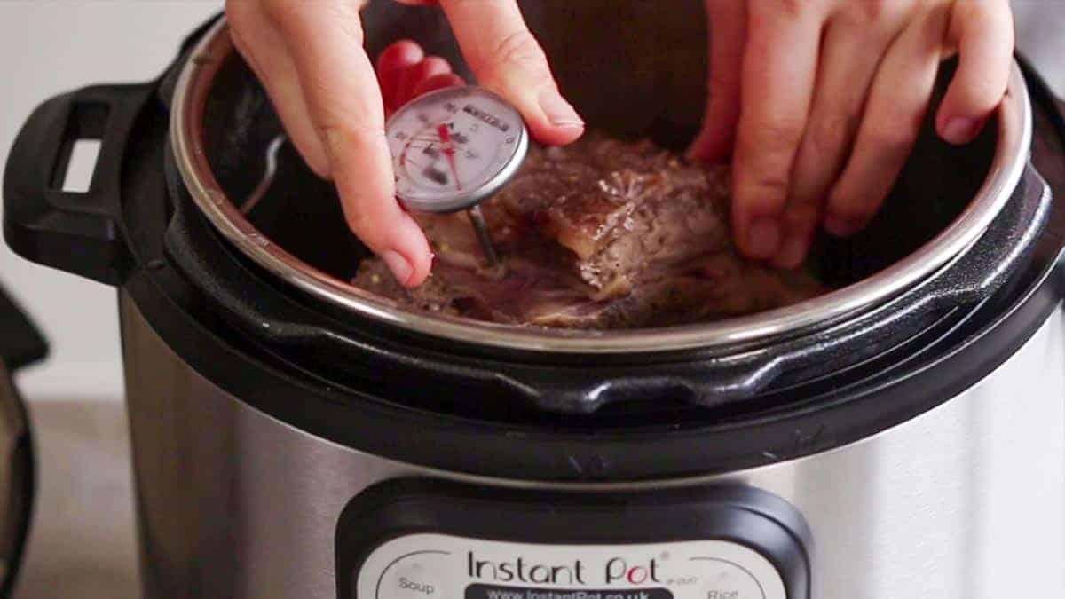Checking temperature of instant pot prime rib