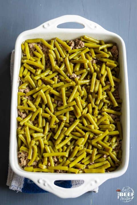 Green beans on top of beef for keto casserole recipe