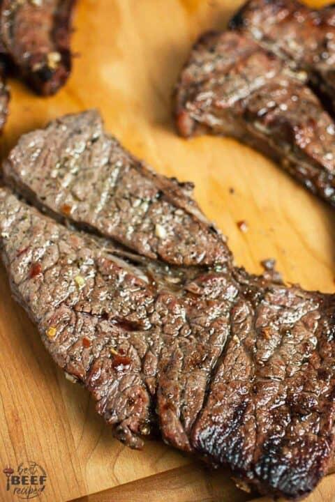 Chuck tender steak fresh off the grill