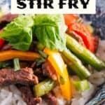 Pepper Steak Stir Fry Recipe pin image