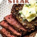 Air fried steak recipe pin image