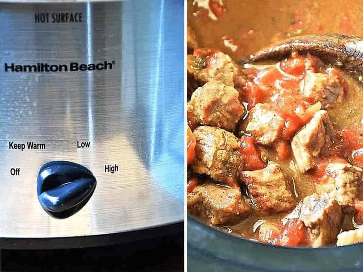 Two images of step 4: A crockpot set to high, and ladling carne picada out of the crockpot after cooking