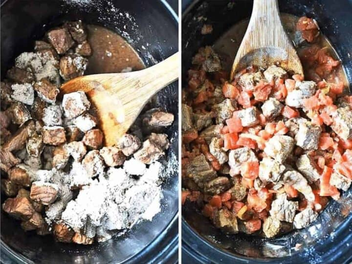 Two images showing step 3: Adding the beef and flour seasoning mixture to the crockpot, then adding the fire roasted tomatoes