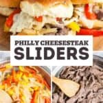 Philly cheesesteak sliders pin image