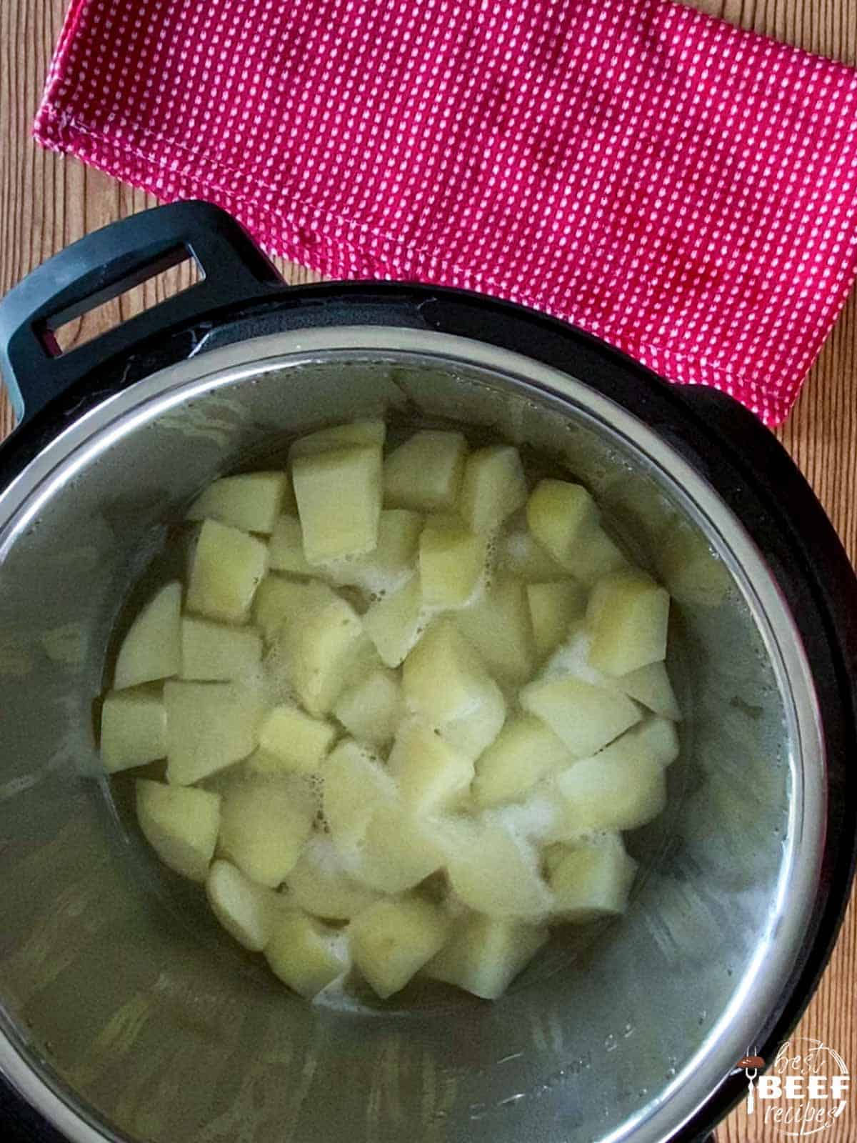 Chopped russet potatoes in the instant pot