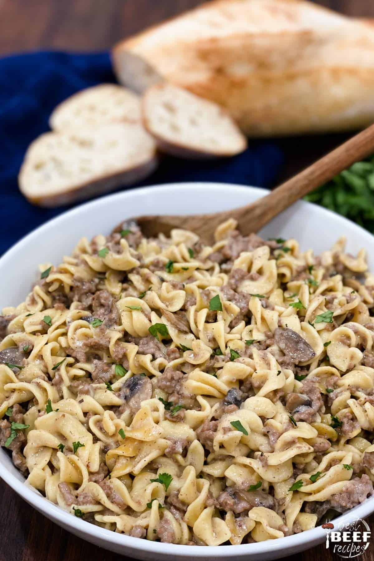 Close up of a white dish full of instant pot beef stroganoff