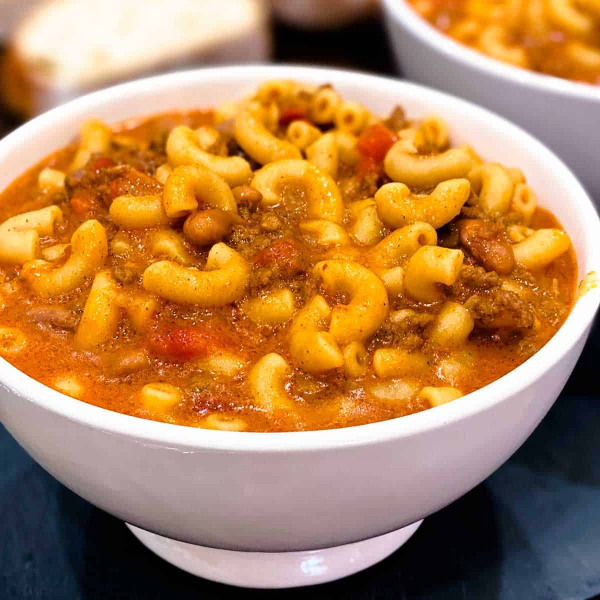Instant pot chili mac in a white bowl