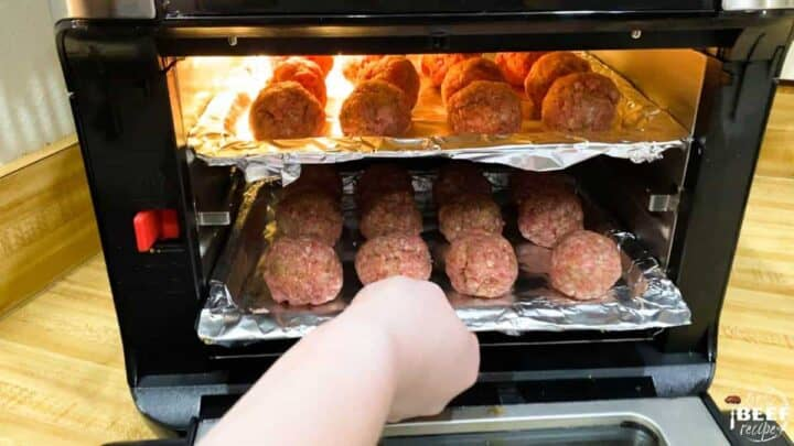 Adding racks to air fryer to cook meatballs