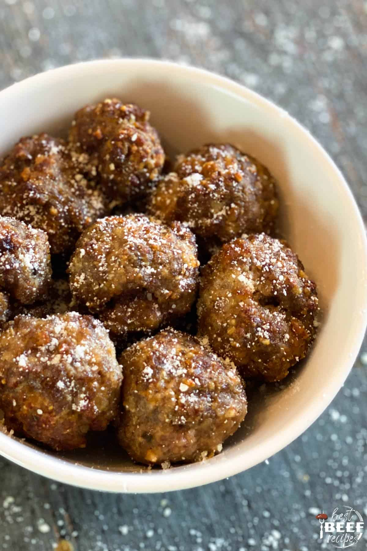 Air fryer meatballs with Parmesan in a white bowl