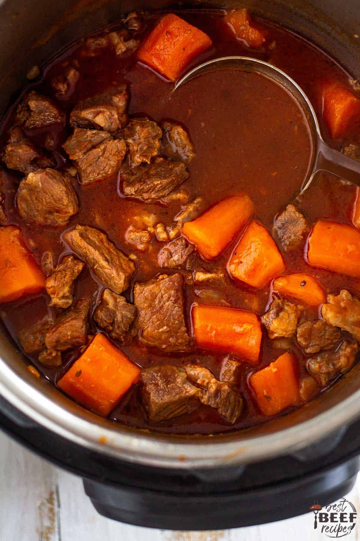 Close up on instant pot beef stew in the pressure cooker pot