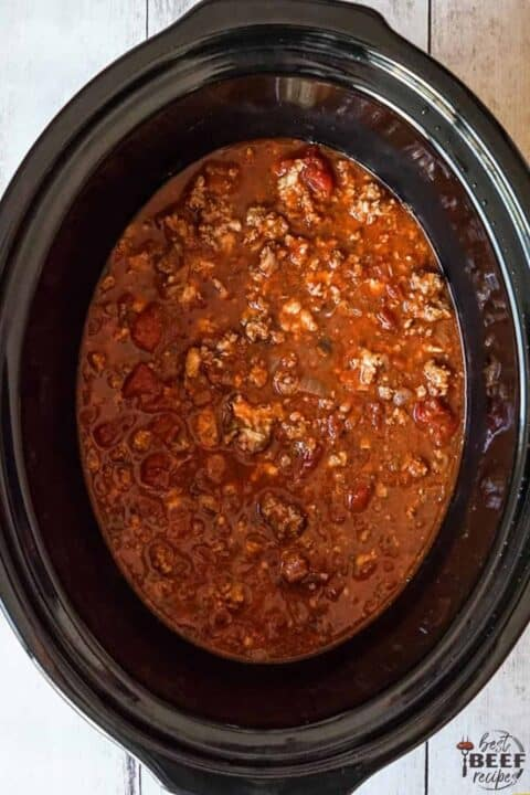 meat sauce in the slow cooker