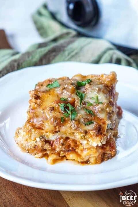 Crock pot lasagna on a white plate