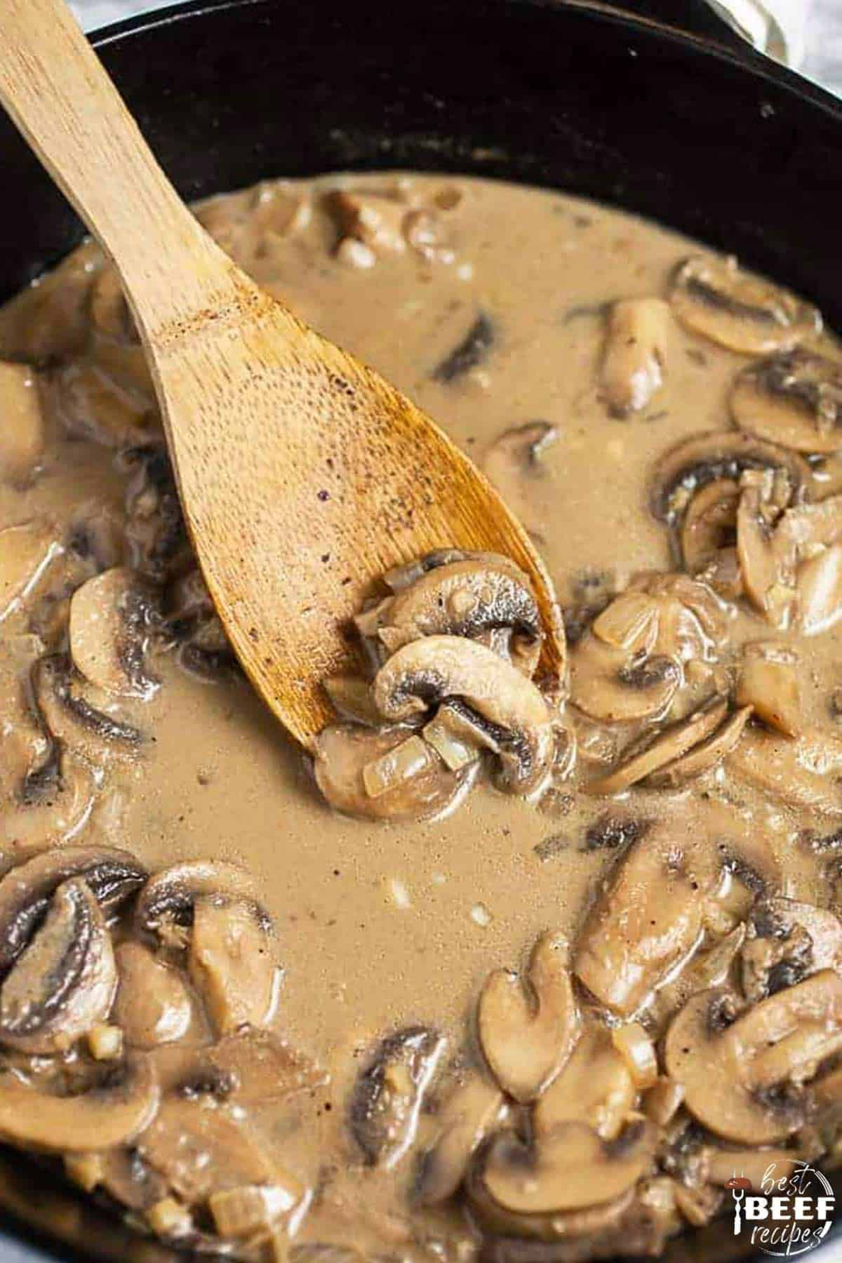 Mushroom steak sauce in a skillet