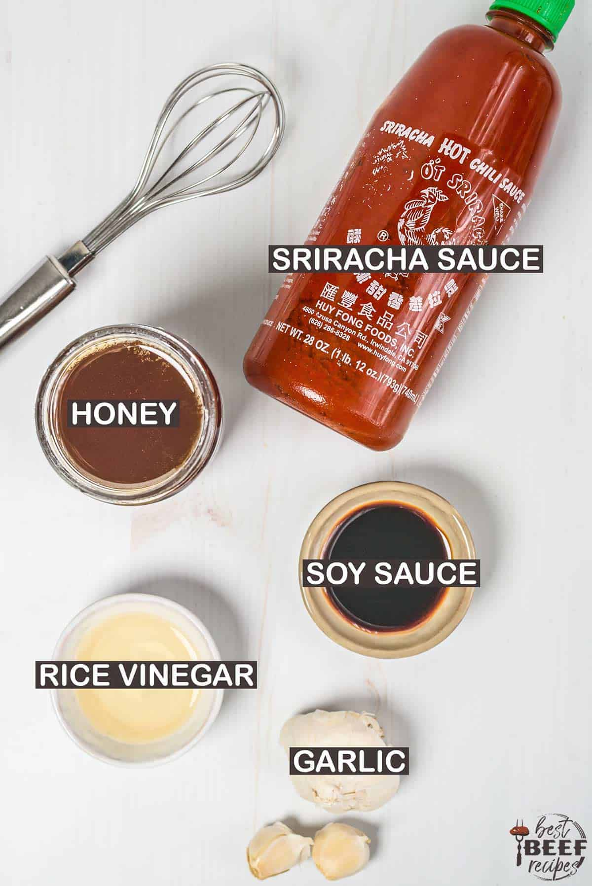 Ingredients for honey sriracha sauce labeled