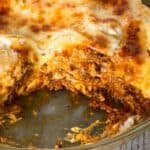 Close up of Instant pot lasagna with a slice missing