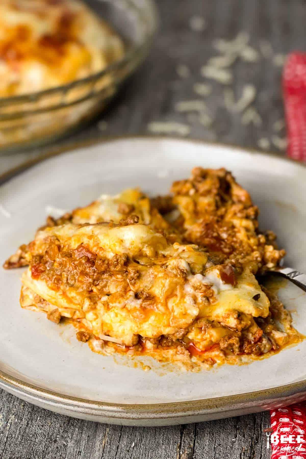 Instant pot lasagna sliced on a plate