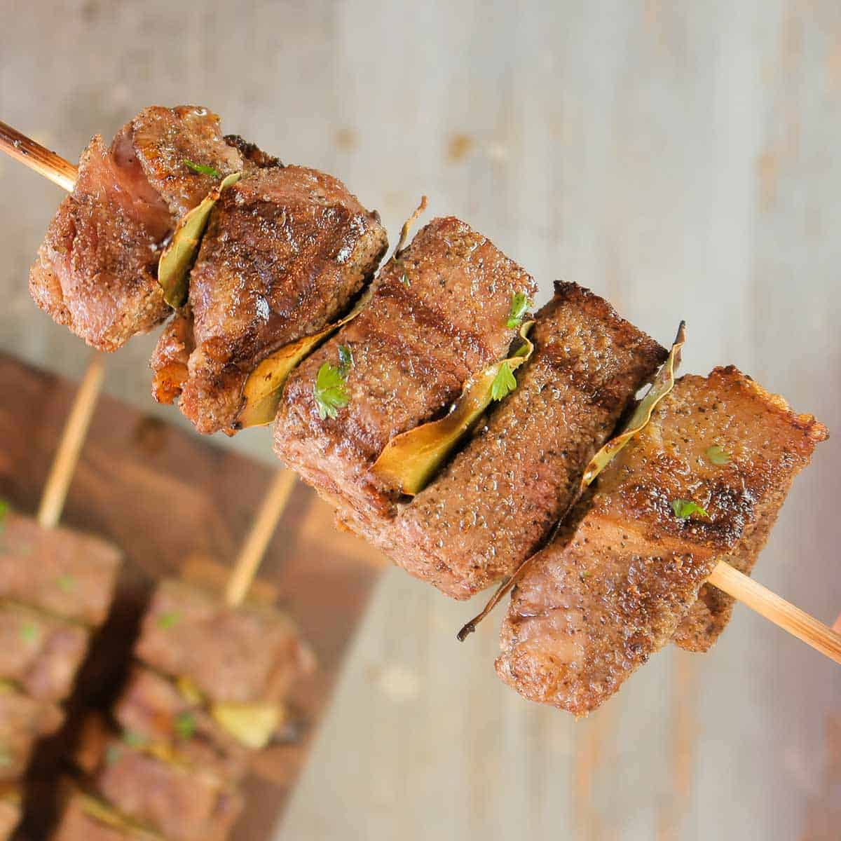 A beef kabob on a skewer