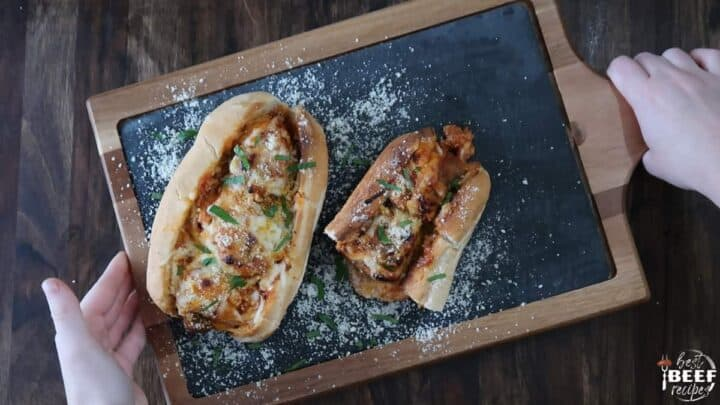 Baked meatball sub ready to eat