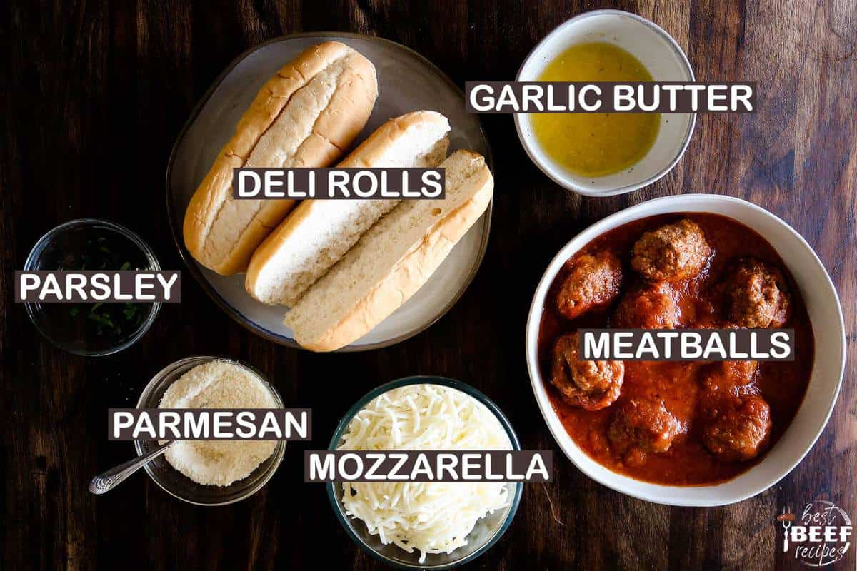 Ingredients to make a meatball sandwich with labels