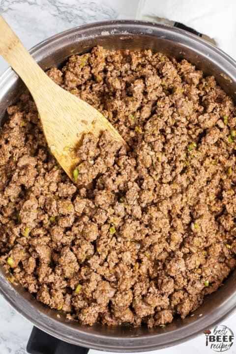Ground beef cooking in skillet