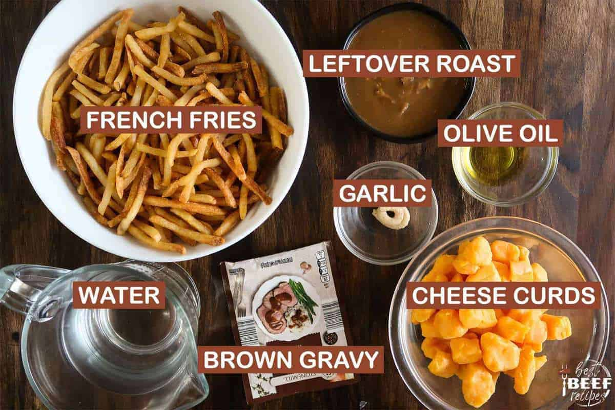 labeled ingredients for poutine recipe