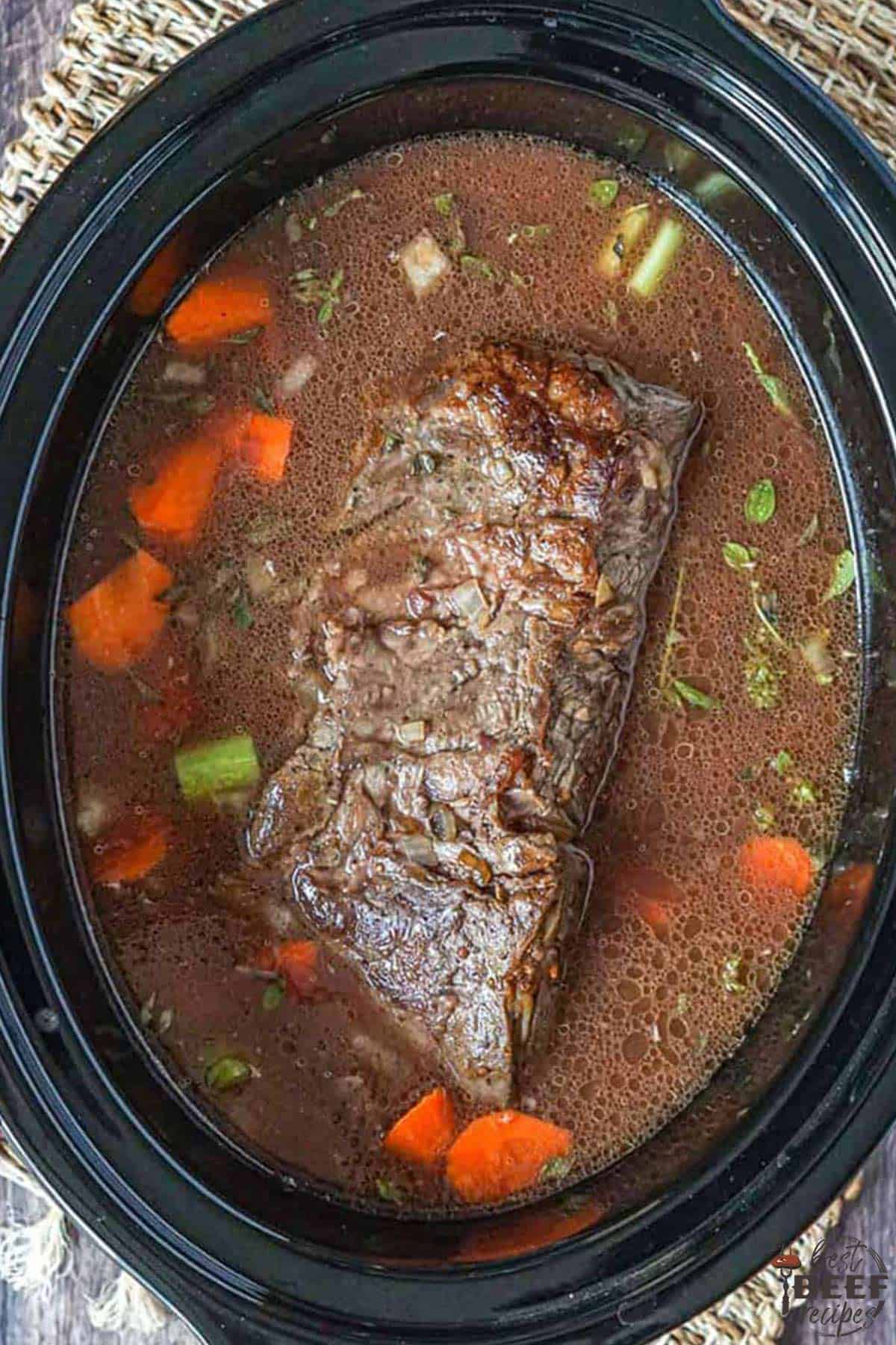 slow cooker roast beef and gravy in crockpot
