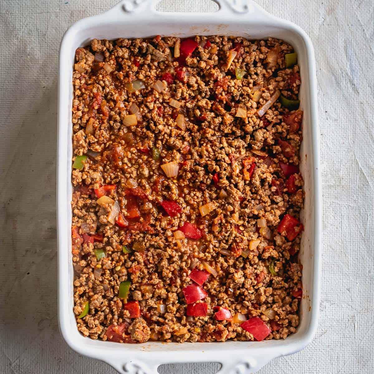 Ground beef spread in baking dish