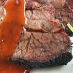 smoked brisket sliced with red gravy