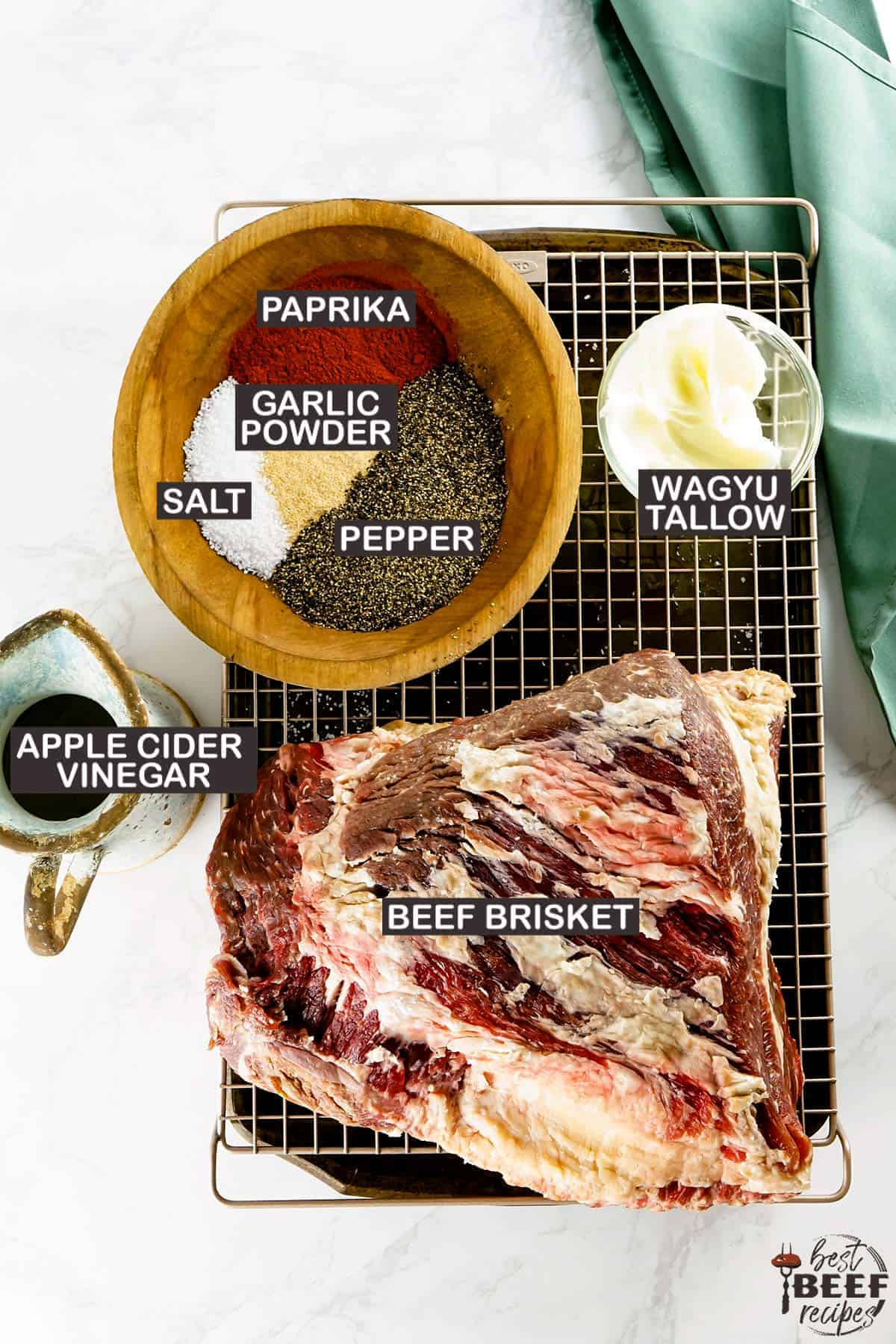 Ingredients for smoking a beef brisket with labels