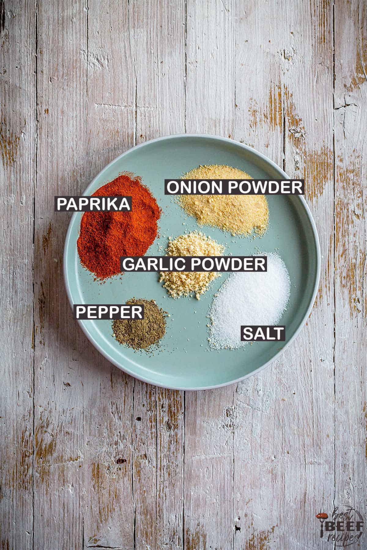 burger seasoning ingredients with labels