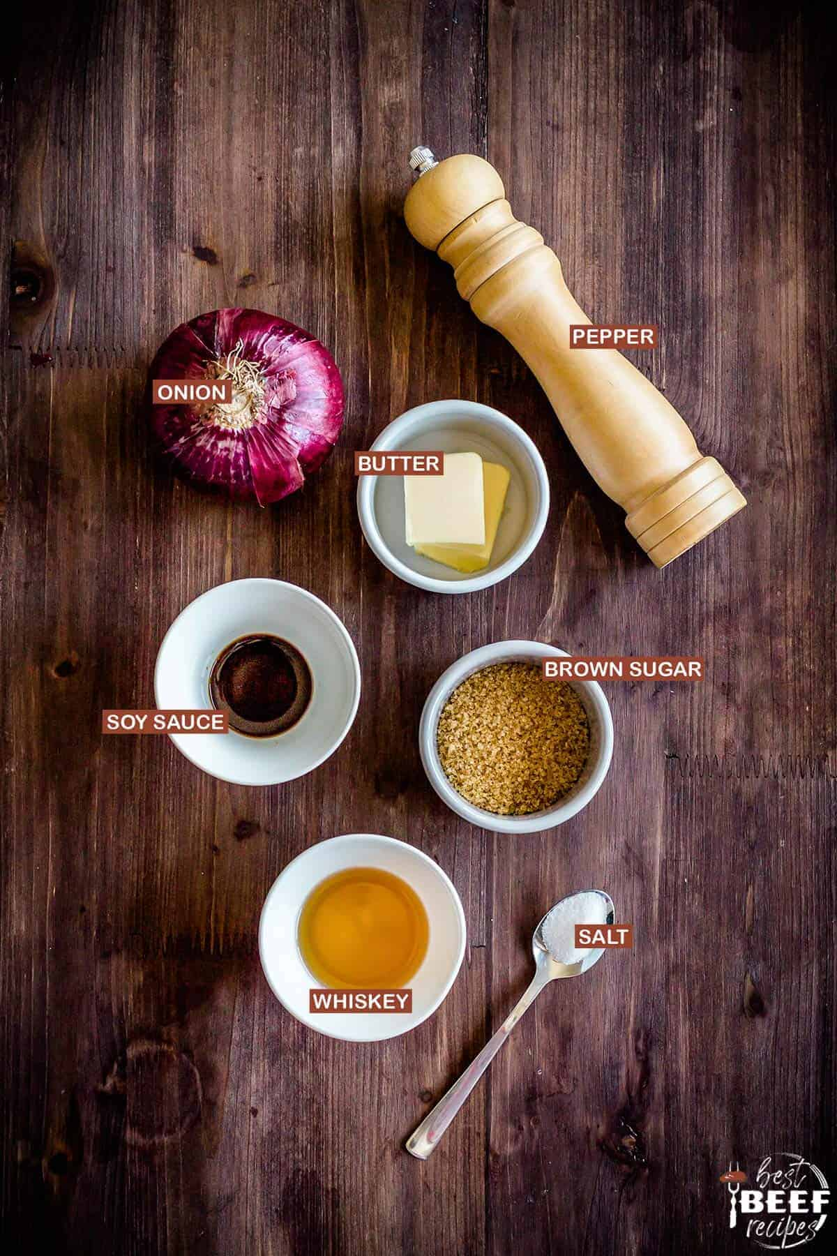 Ingredients to make caramelized onions for burgers with labels