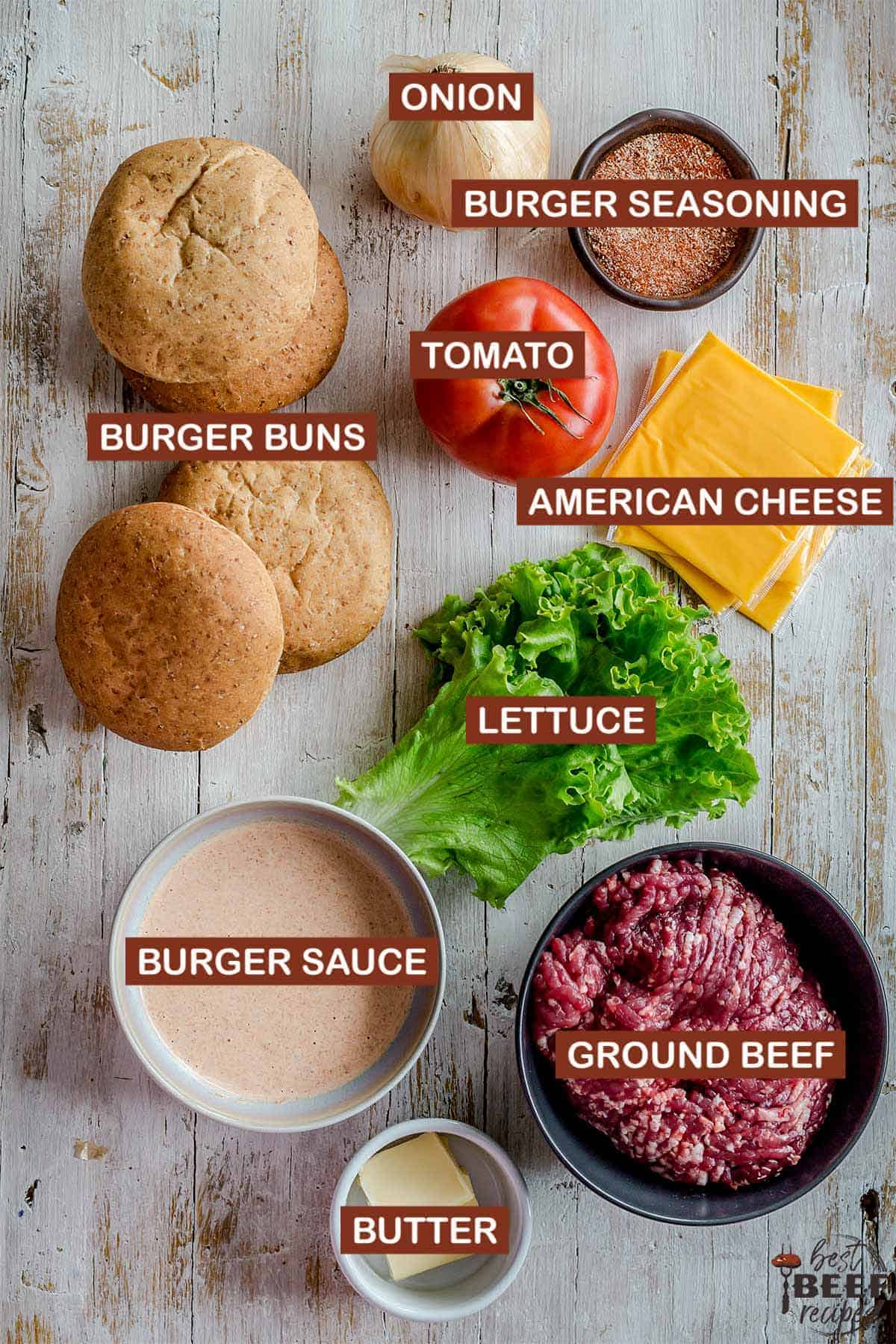 ingredients to make a smash burger with labels