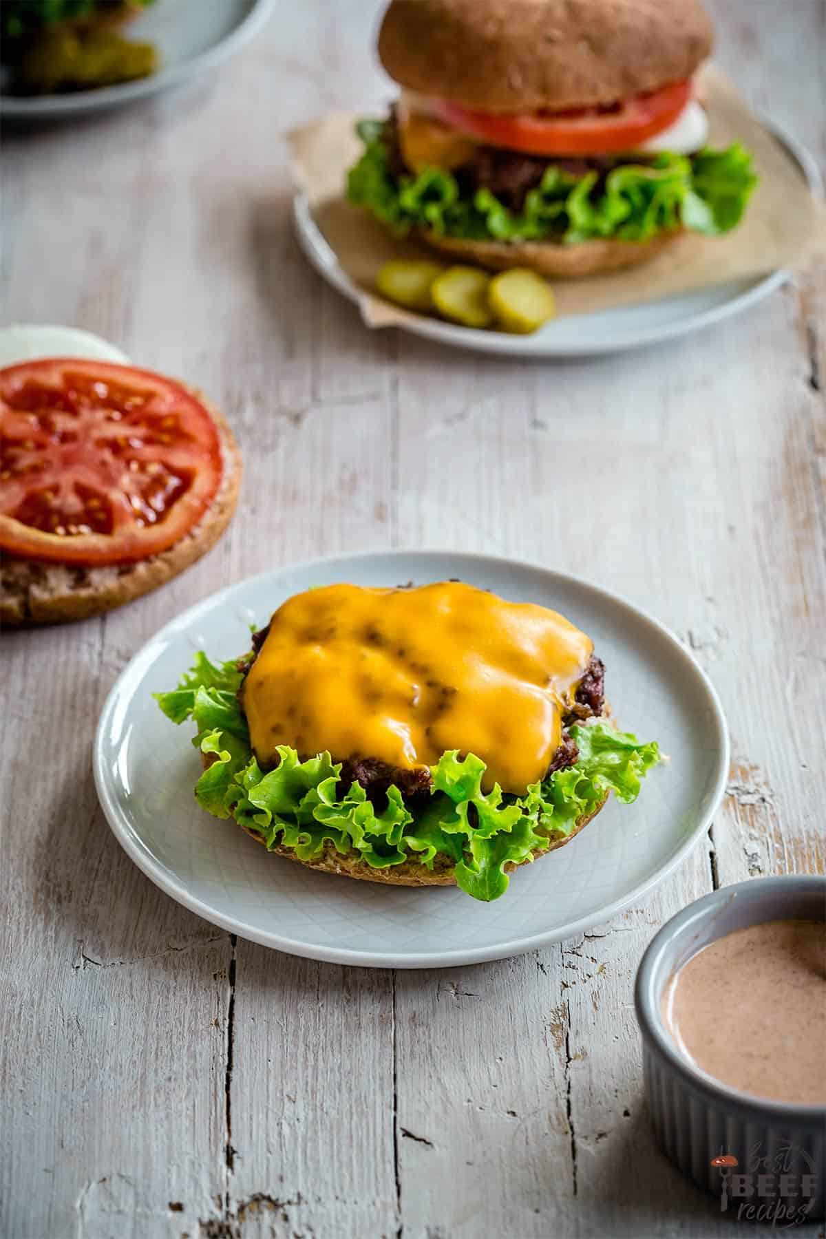 Smash burger on a plate without the top bun