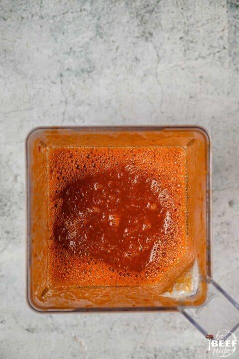 Birria beef stew base blended