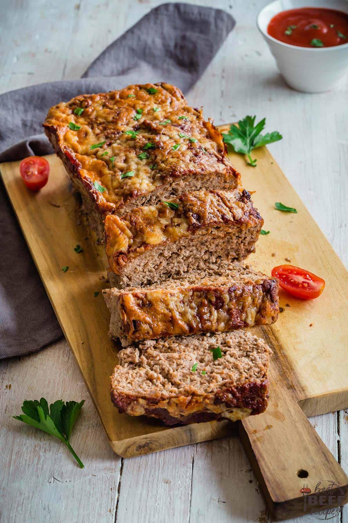 Complete keto meatloaf on a serving board