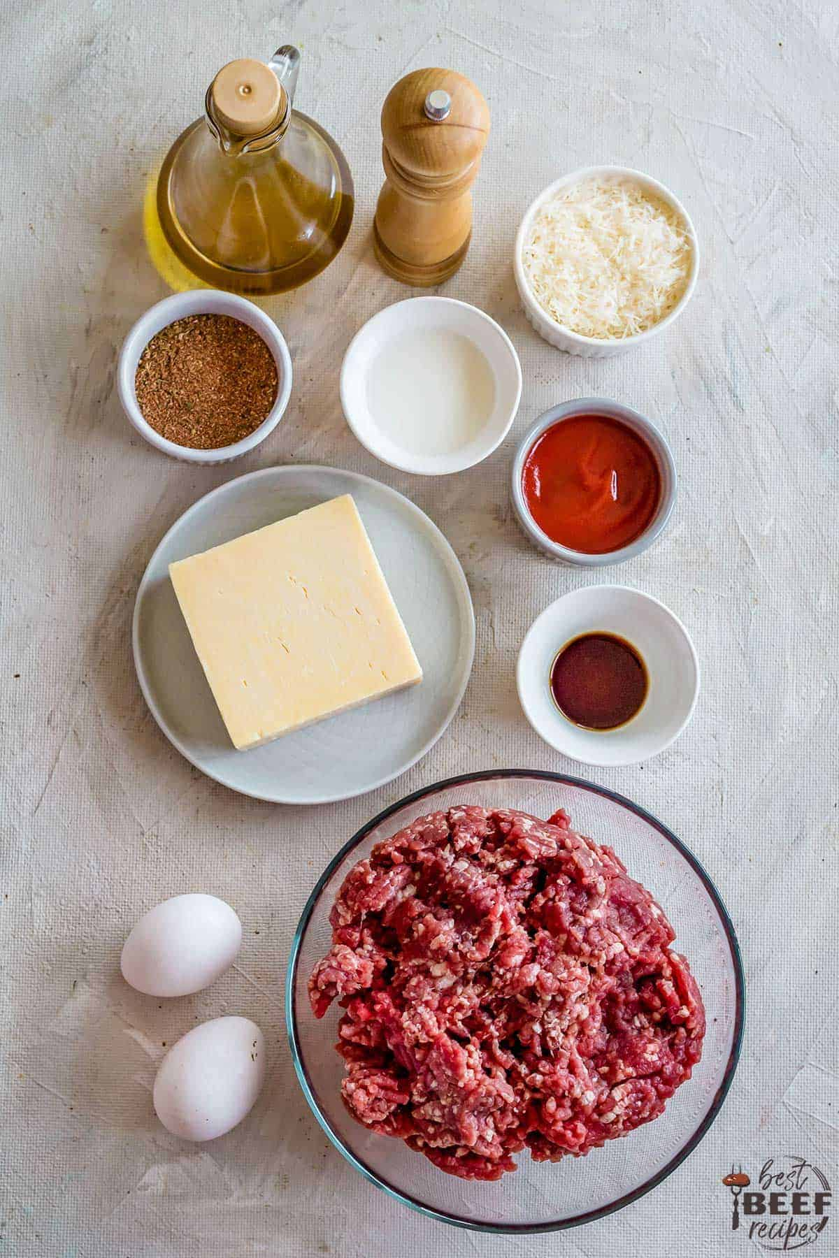 Ingredients for keto meatloaf in bowls and on plates