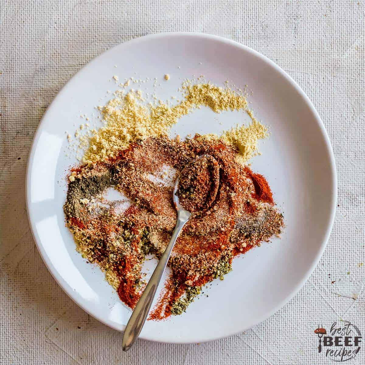meatloaf seasoning on a white plate with a spoon