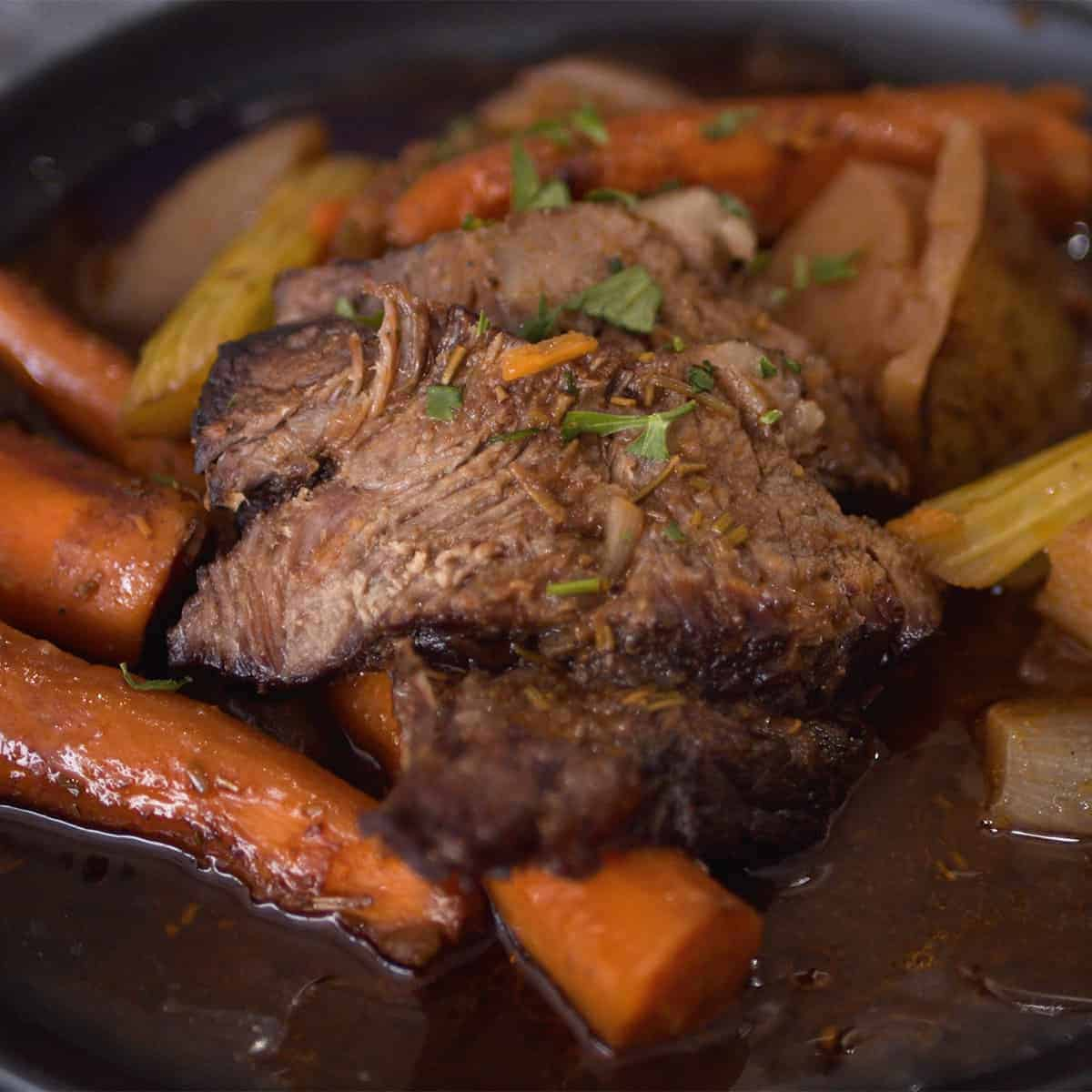 Beef chuck roast with potatoes and carrots