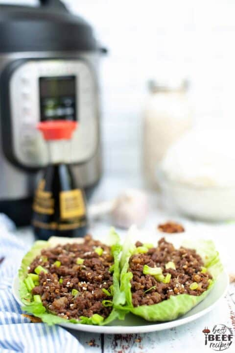 Two Korean ground beef lettuce wraps