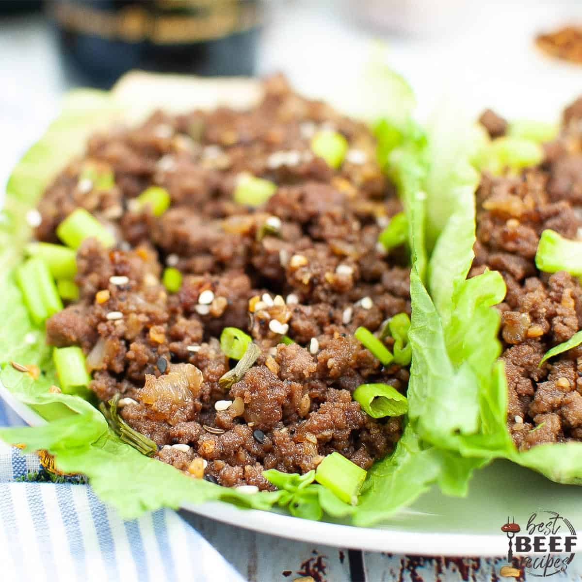 Korean Ground Beef in lettuce wraps up close