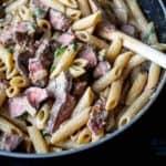 leftover prime rib pasta in a skillet