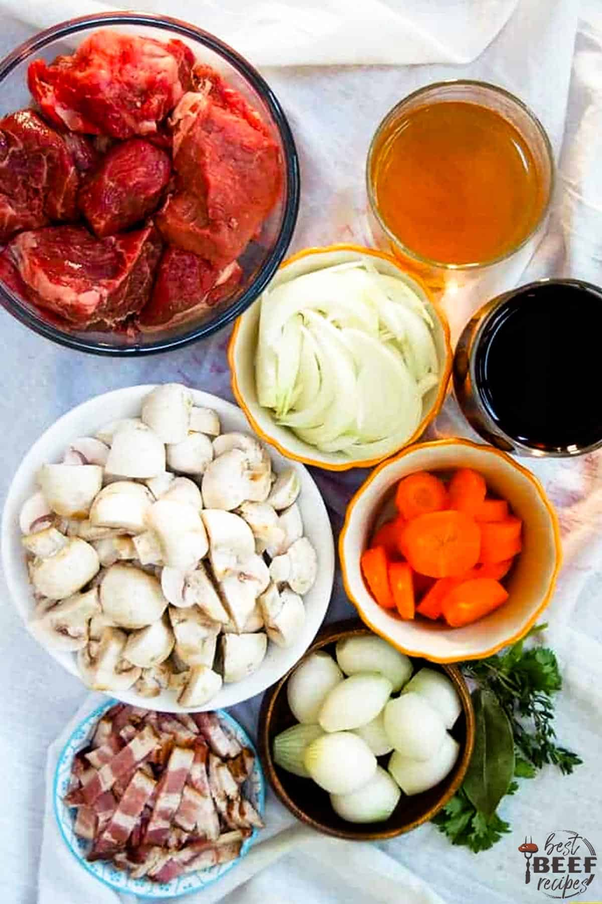 Ingredients for beef bourguignon