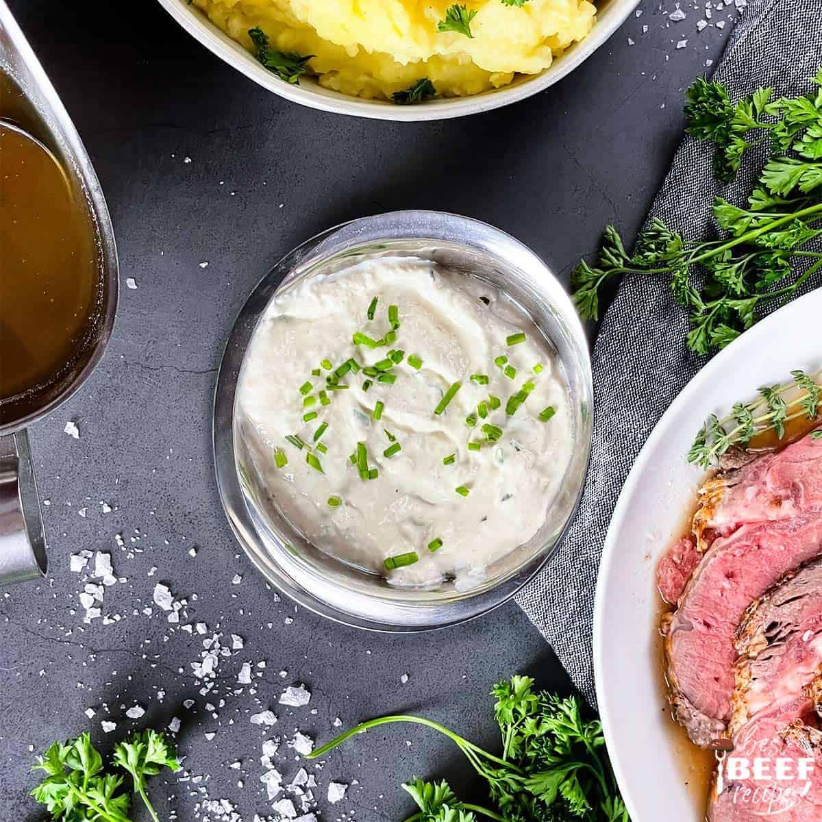 Horseradish sauce in a bowl