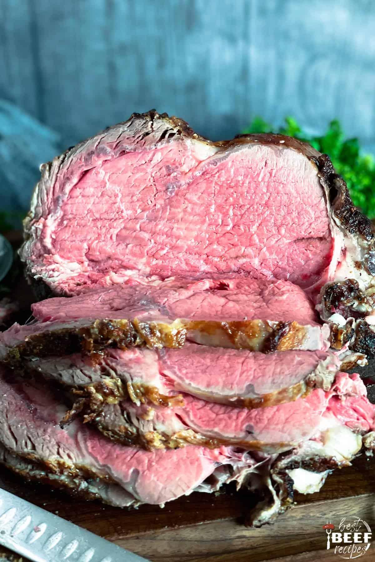 Sliced whole sous vide prime rib